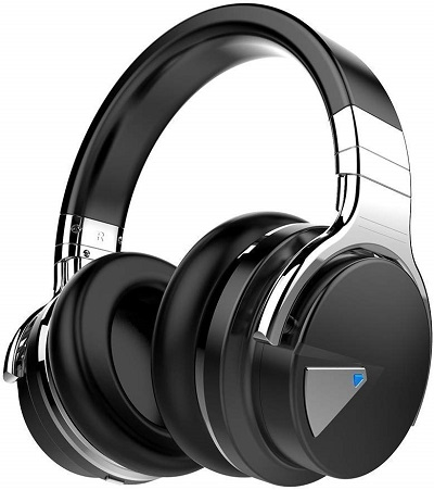 Active Noise Cancelling Headphones,  Bluetoooth,  with Microphone, Hi-Fi Deep Bass,  Wireless Headphones, Over Ear - Black