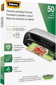 Fellowes Thermal Laminating Pouches, Letter, 5 mil, 50 Pack, 9 x 11.5 inches