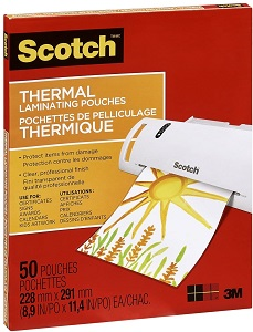 "Thermal Laminating Sheets, 9"" x 11.5"", 3-Mil Thick, 50 Laminating Pouches"