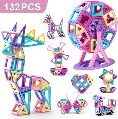 Pastel Mini Magnetic Building Tiles  132PCS