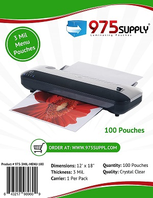 3 Mil Clear Menu Size Thermal Laminating Pouches, 12 X 18 inches, 100 Pouches