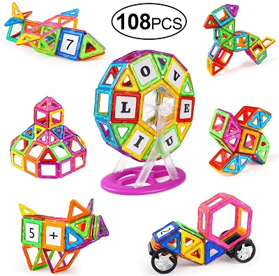 108 Pcs Magnetic Building Tiles