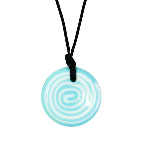Button Pendant Blue and White Swirl