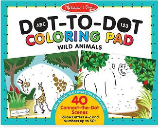123 Dot to Dot Colouring Pads - Wild Animals
