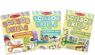Scissor Skills Activity Pad with Child-Safe Scissors 3-Pack (Safari, Sea Life, Activities – 20 Pages Each)