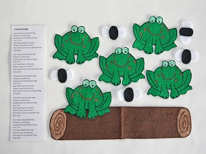 Five Green And Speckled Frogs Felt Song