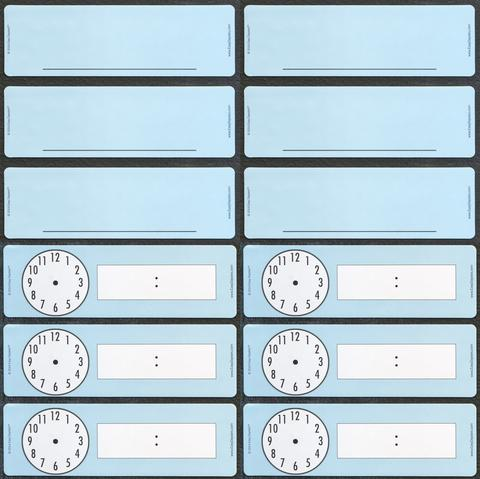 Easy Daisies Set of 12 Classroom Magnets - 6 Blanks and 6 Clocks
